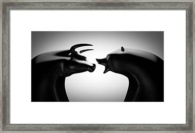 Bull Bear Black And White Framed Print