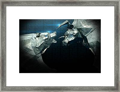 Bull Bear Chiseled Figures  Framed Print