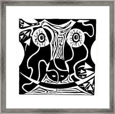 Bull Charging Rorschach Framed Print by Yonatan Frimer Maze Artist