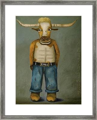 Bull Denim Framed Print by Leah Saulnier The Painting Maniac