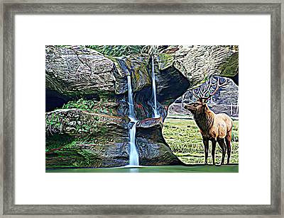 Bull Elk By A Waterfall Framed Print