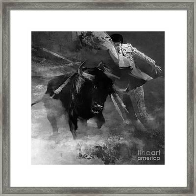 Bull Fighting 09h Framed Print