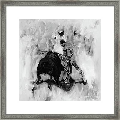 Bull Fighting Hh87 Framed Print by Gull G