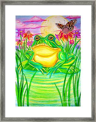 Bull Frog And The Moon Framed Print by Nick Gustafson