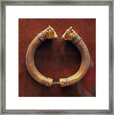Bull-heads Necklace Framed Print by Andonis Katanos