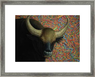 Bull In A Plastic Shop Framed Print