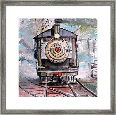 Framed Print featuring the painting Bull Locomotive by John Williams