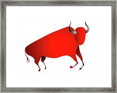 Bull Looks Like Cave Painting Framed Print by Michal Boubin