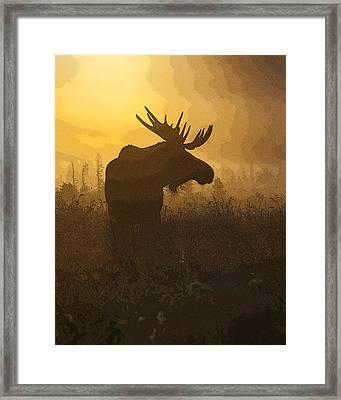 Bull Moose In Fog- Abstract Framed Print