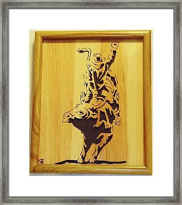 Bull-rider Framed Print by Russell Ellingsworth