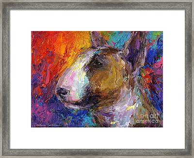 Bull Terrier Dog Painting Framed Print by Svetlana Novikova
