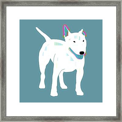 Bull Terrier In Blues Framed Print by Joy McKenzie