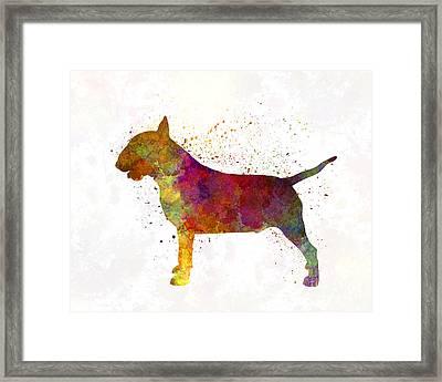 Bull Terrier In Watercolor Framed Print by Pablo Romero