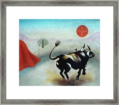 Bull With Sun Framed Print by Sally Appleby