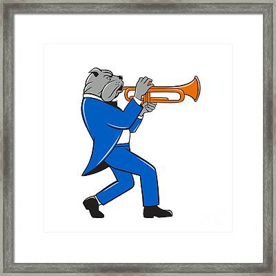 Bulldog Blowing Trumpet Side View Cartoon Framed Print