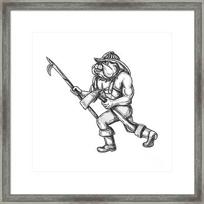 Bulldog Firefighter Pike Pole Fire Axe Tattoo Framed Print