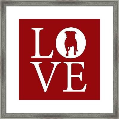 Bulldog Love Red Framed Print by Nancy Ingersoll