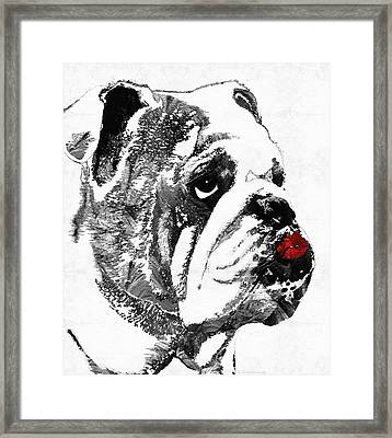 Bulldog Pop Art - How Bout A Kiss 2 - By Sharon Cummings Framed Print
