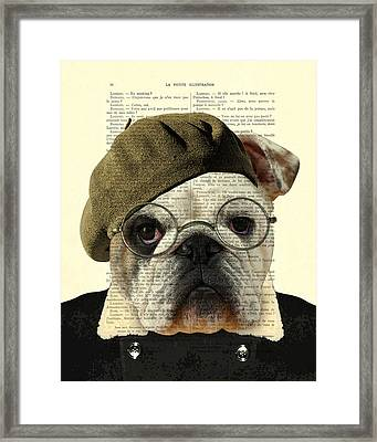 Bulldog Portrait, Animals In Clothes Framed Print