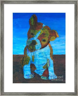 Framed Print featuring the painting Bulldog Puppy by Donald J Ryker III