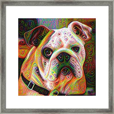 Bulldog Surreal Deep Dream Image Framed Print
