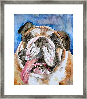 Framed Print featuring the painting Bulldog - Watercolor Portrait.3 by Fabrizio Cassetta