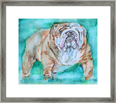 Framed Print featuring the painting Bulldog - Watercolor Portrait.6 by Fabrizio Cassetta