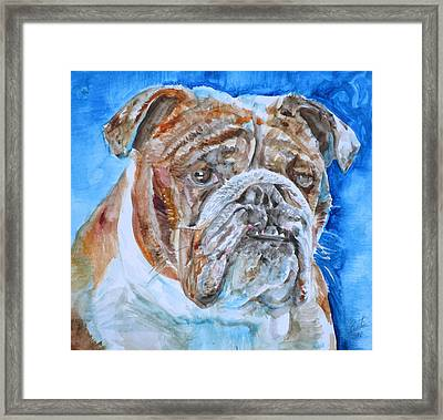 Framed Print featuring the painting Bulldog - Watercolor Portrait.8 by Fabrizio Cassetta