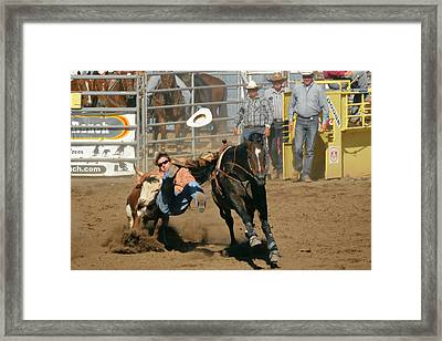 Bulldogging At The Rodeo Framed Print by Christine Till