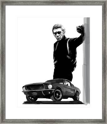 Bullitt Cool  Steve Mcqueen Framed Print by Iconic Images Art Gallery David Pucciarelli