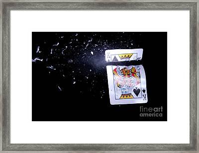 Bullet Hitting A Playing Card Framed Print