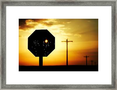 Bullet-riddled Stop Sign Framed Print
