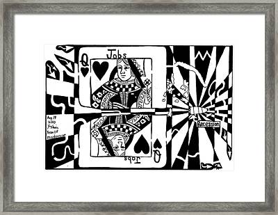 Bullet Thru The Queen Of Hearts...recessions Effect On Jobs By Yonatan Frimer Framed Print by Yonatan Frimer Maze Artist