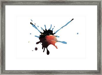 Bullfinch Splatter Framed Print by Richard Sayer