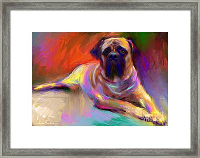 Bullmastiff Dog Painting Framed Print by Svetlana Novikova
