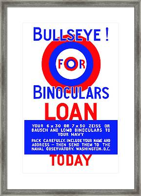Bullseye For Binoculars Framed Print by War Is Hell Store