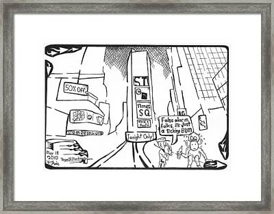 Bum In Times Square By Yonatan Frimer Framed Print by Yonatan Frimer Maze Artist