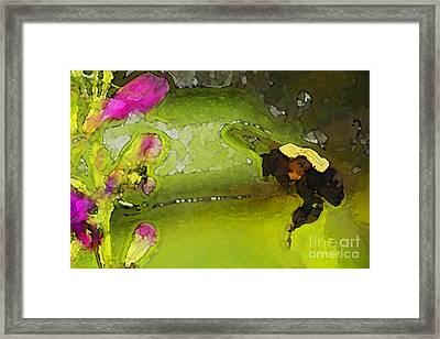 Bumble Bee And Penstemon Over Pond Framed Print by Annie Johnson