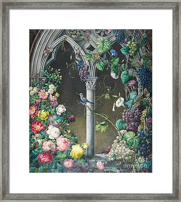 Bunches Of Roses Ipomoea And Grapevines Framed Print by Eugene Joseph Prevost