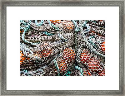 Bundle Of Fishing Nets And Buoys Framed Print by Carol Leigh