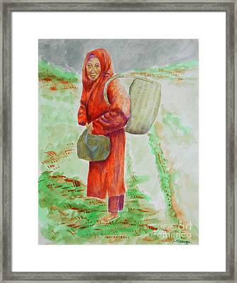Bundled And Barefoot -- Portrait Of Old Asian Woman Outdoors Framed Print