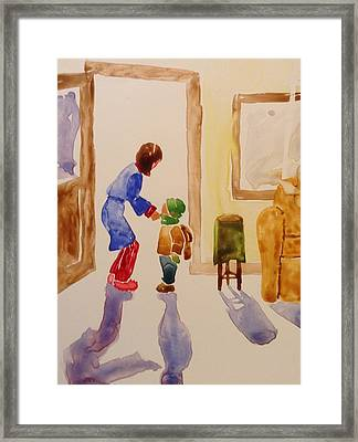 Bundled Up For School Framed Print by Marilyn Jacobson