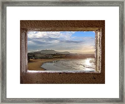 Bundoran And The Dartry Mountains Framed In The Window Of The Rougey Walk Shelter Framed Print