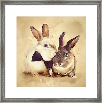 Bunnies Are In Love Framed Print by BONB Creative
