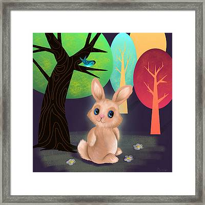 Bunny And Birdie Framed Print