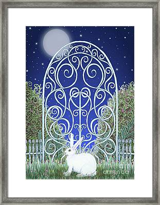 Bunny, Gate And Moon Framed Print