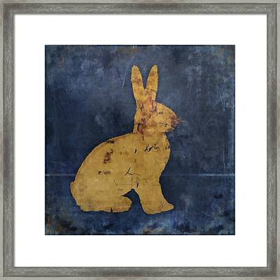 Bunny In Blue Framed Print by Carol Leigh