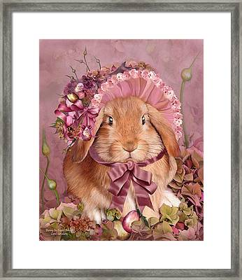 Bunny In Easter Bonnet Framed Print by Carol Cavalaris