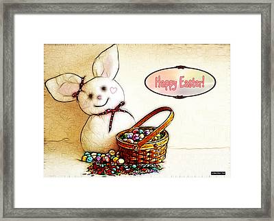 Bunny N Eggs Card Framed Print by Methune Hively