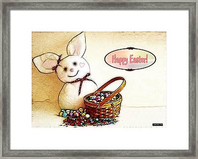 Bunny N Eggs Card Framed Print